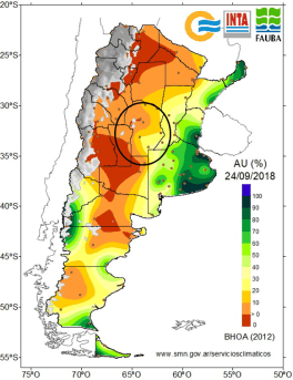 Available water content in the province of Cordoba as of September 24th, 2018. Source: FAUBA.
